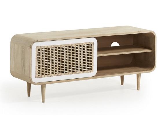 Mueble TV vintage madera natural blanco ruzafa 120x50
