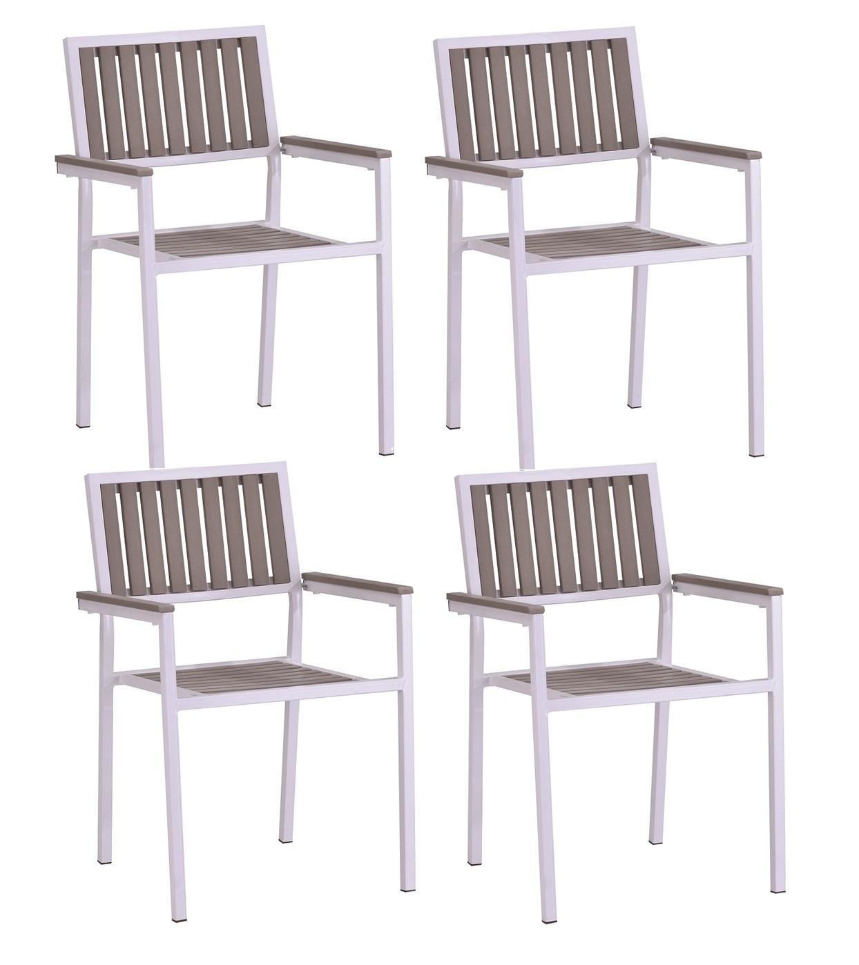 Conjunto alumino gris polywood gris 4 sillas mesa 80x80 Beach