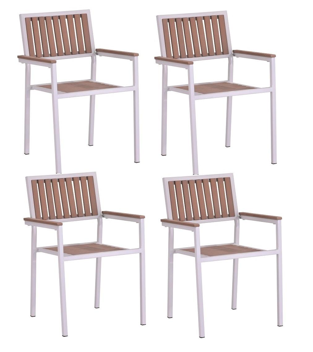 Conjunto alumino blanco polywood 4 sillas mesa 80x80 Beach
