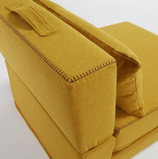 Puf cama plegable tela varese mostaza