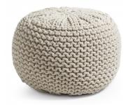 Puf tricot algodon blanco redondo 50