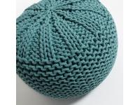 Puf tricot algodon turquesa redondo 50