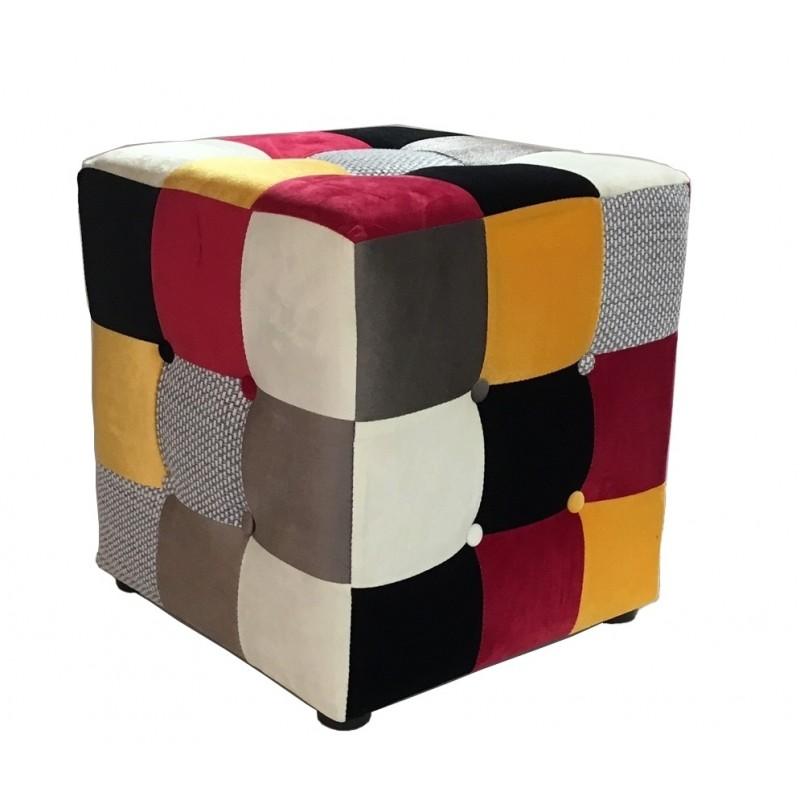 Puff  Arlequín tejido patchwork