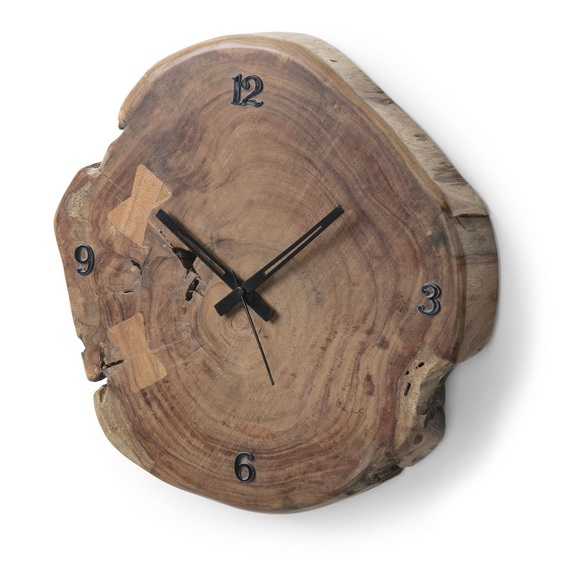 Reloj de pared tronco acacia natural 35cm