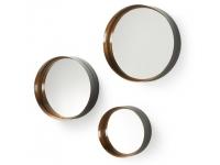 Set 3 espejos metal negro dorado