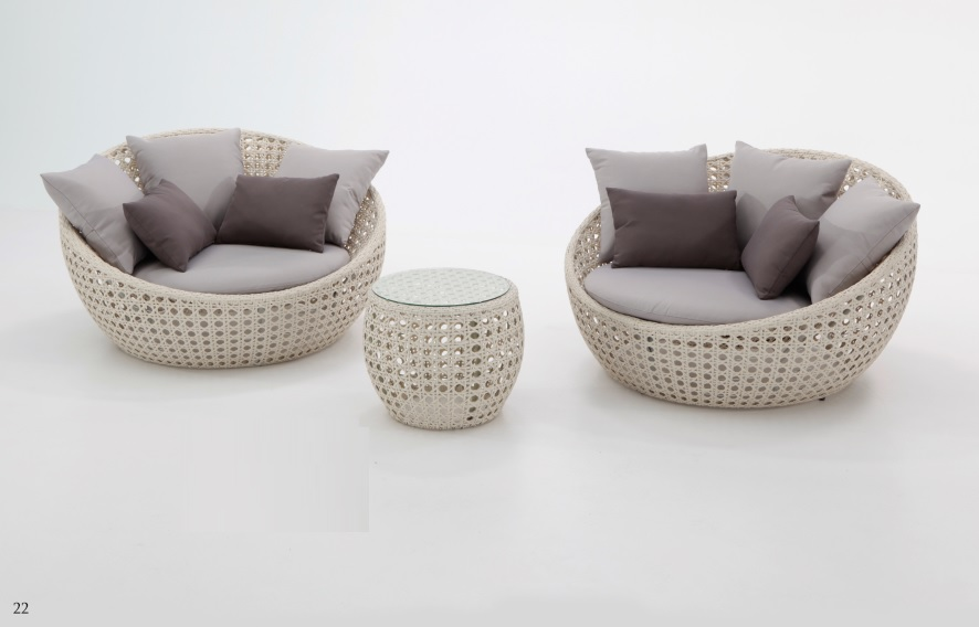 Set lounge Luna rattan blanco roto