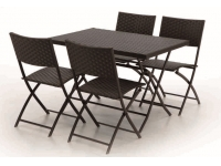 Set plegable Rattan altea 4 sillas 120x70