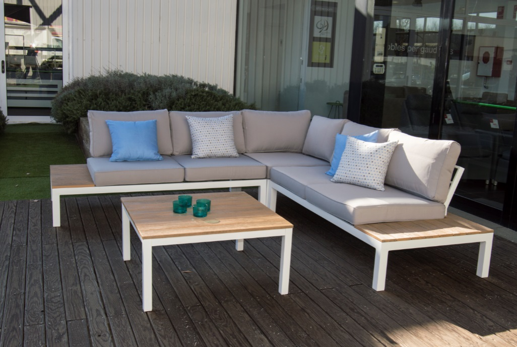 Set sofa angular aluminio blanco eucalipto Carla