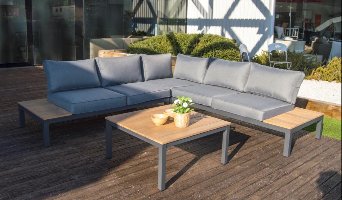 Set sofa angular aluminio gris eucalipto Carla