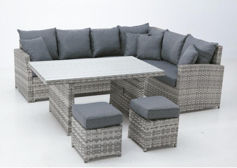 Set sofa mesa comedor rattan gris zone
