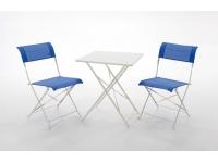 Set terraza aluminio plegable textilene azul