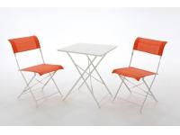 Set terraza aluminio plegable textilene naranja
