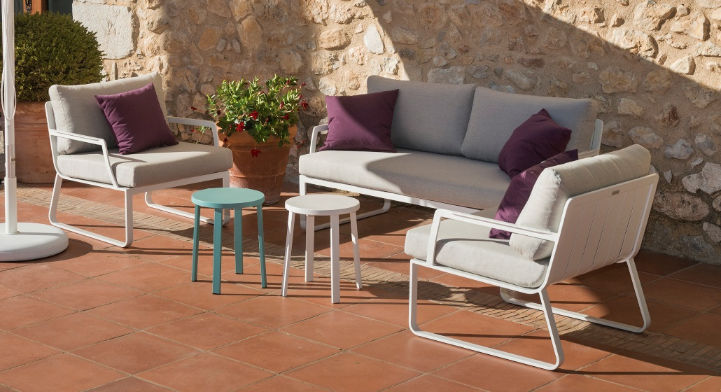 Set Verona sofas aluminio blanco con cojines