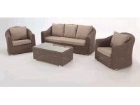 Set sofas rattan marron alacan 5 plazas