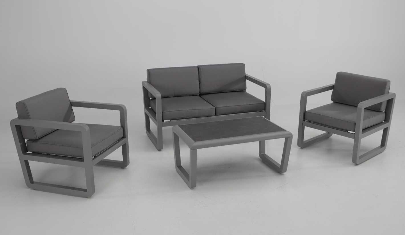Set sofas terraza aluminio grafito Mamba