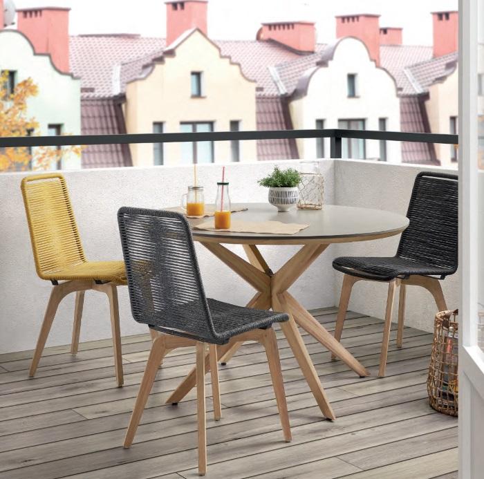 Conjunto terraza Calma cuerda cemento y madera