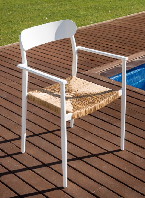Silla terraza danube aluminio blanco enea