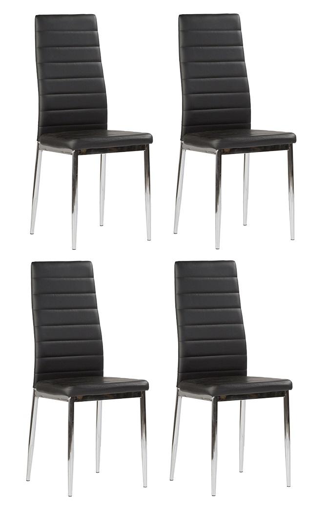 4 uds silla de cocina polipiel negro patas cromadas nantes