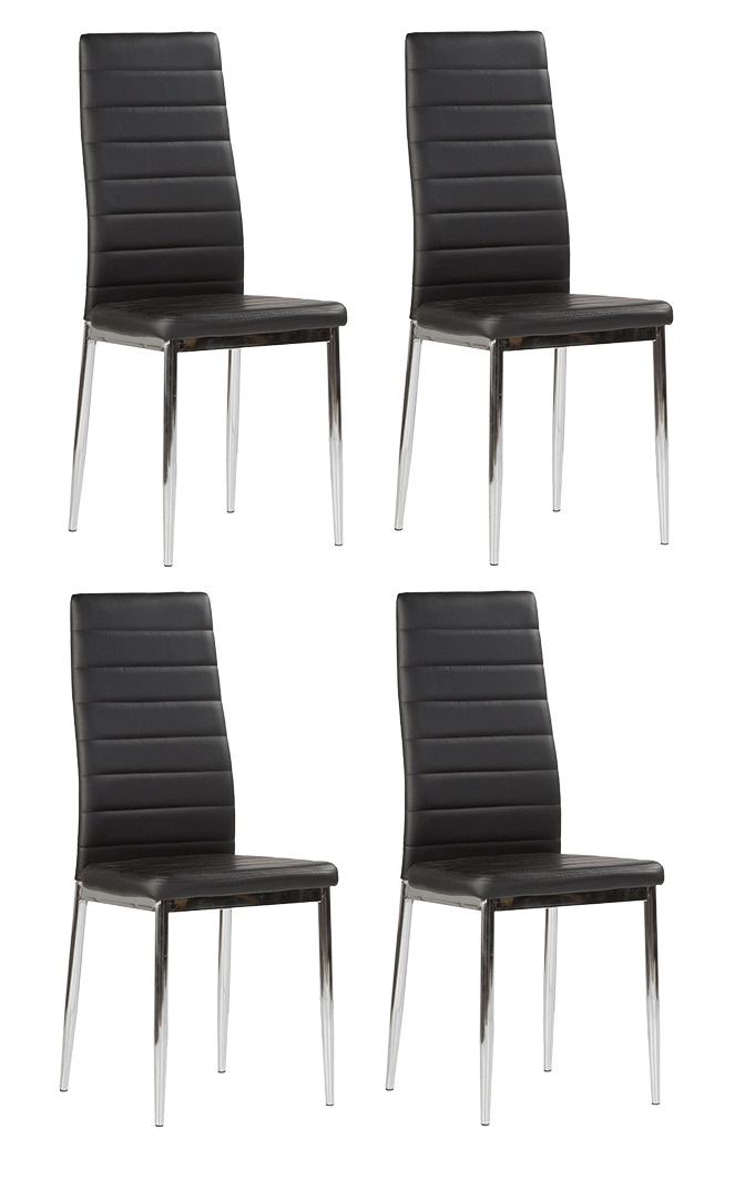 4 uds silla de cocina polipiel negro patas cromadas nantes for Sillas cromadas