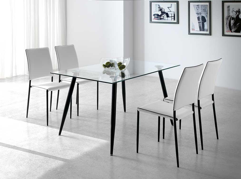 Conjunto de comedor Adriana cristal transparente sillas blanco