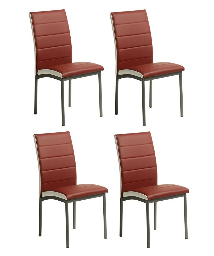 4 uds silla de comedor polipiel burdeos metz - Sillas comedor polipiel ...