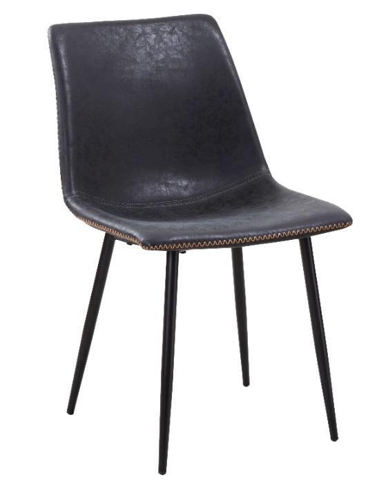 silla industrial cuero viejo gris oscuro Folk