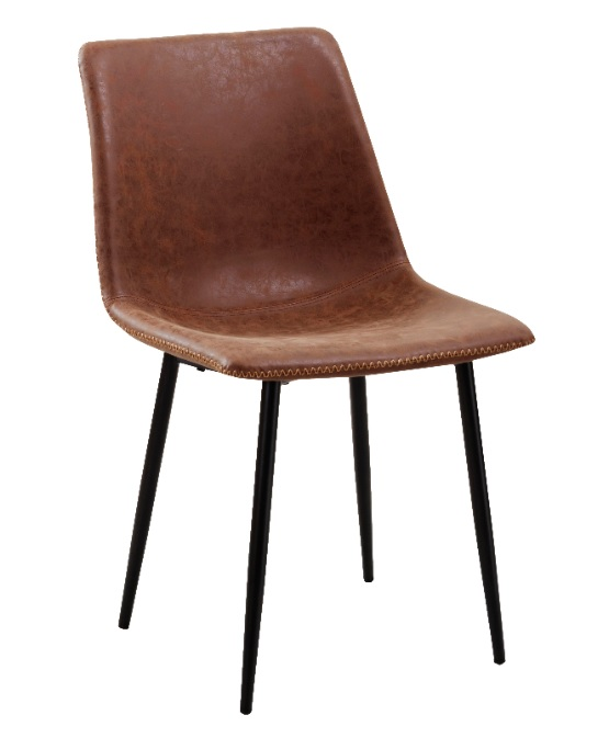 silla industrial cuero viejo marron Folk