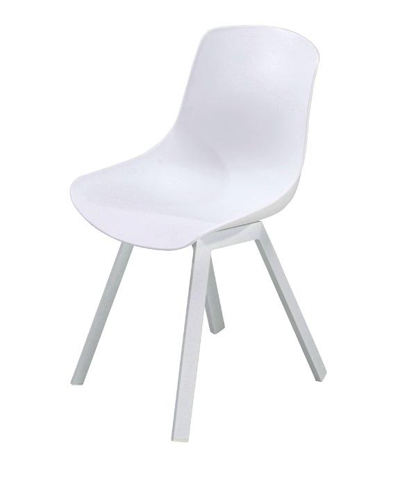 Silla Siena polipropileno aluminio blanco