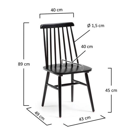Silla windsor madera negra