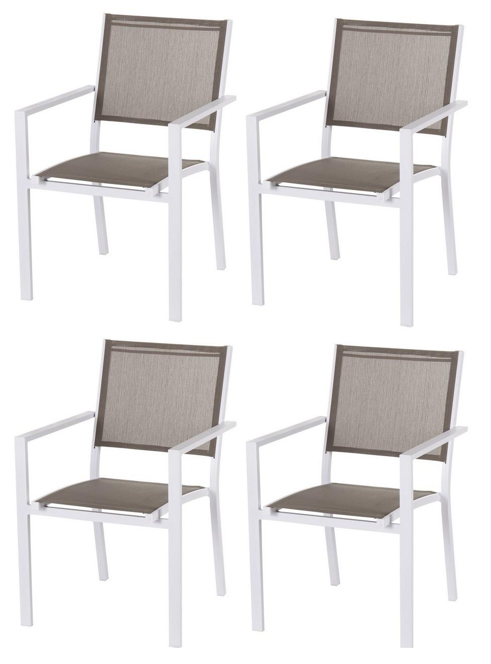 pack 4 silla terraza aluminio blanco textilene taupe