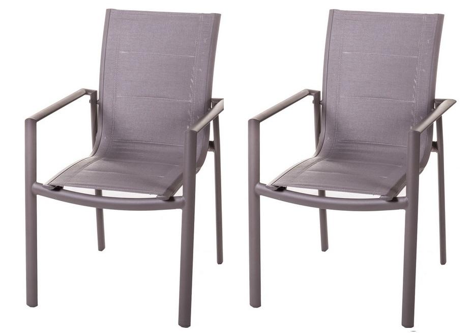 Pack 2 silla de terraza aluminio textilene acolchado tortora