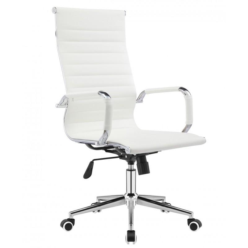 Sillón de oficina alto Eames similpiel blanca