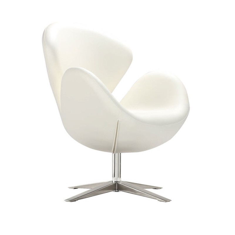Sillon Swan tapizado similpiel blanca