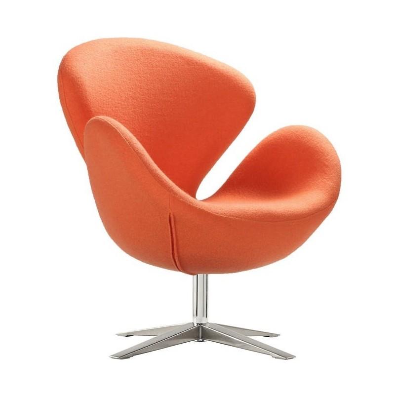 Sillon Swan tapizado tejido cachemir naranja
