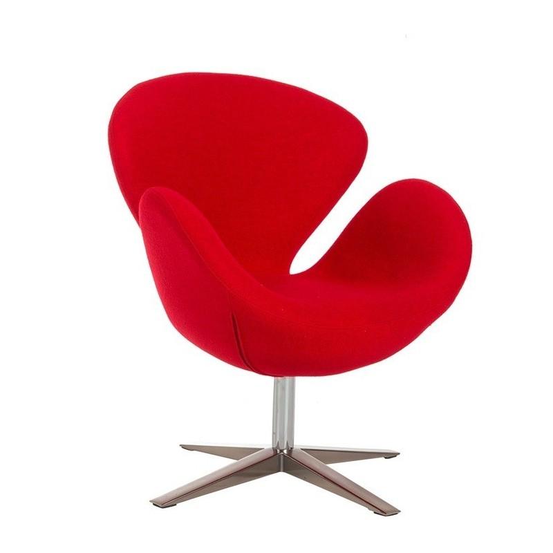 Sillon Swan tapizado tejido cachemir rojo