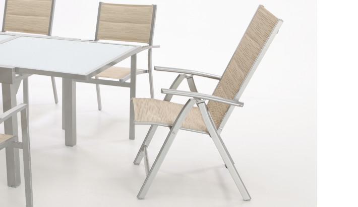 Sillon posiciones reclinable gris textilene beige Sera