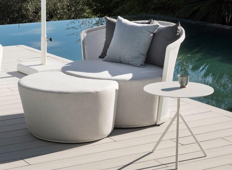 Sillon relax Lounge tapizado pouf Ventura blanco