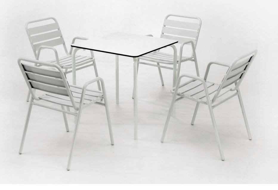 Conjunto terraza compact plus sillon lamas aluminio blanco