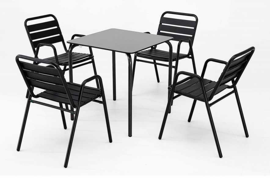 Conjunto terraza compact plus sillon lamas aluminio negro