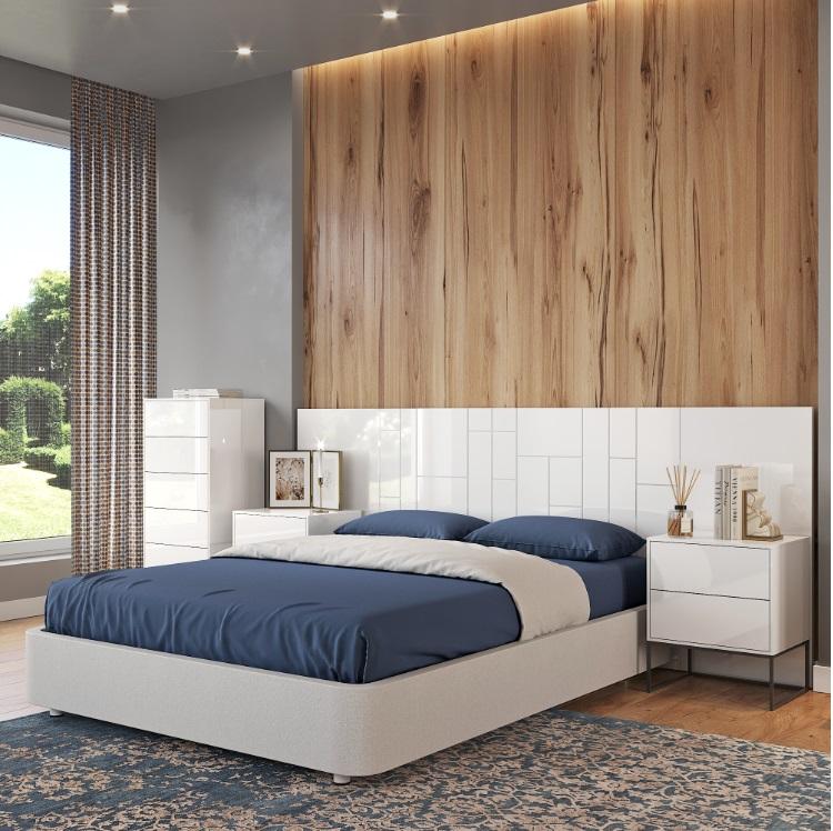 Cabezal madera Roxy lacado blanco brillo 260x110