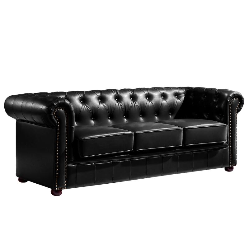 Sofa chester new 3 plazas similpiel negra