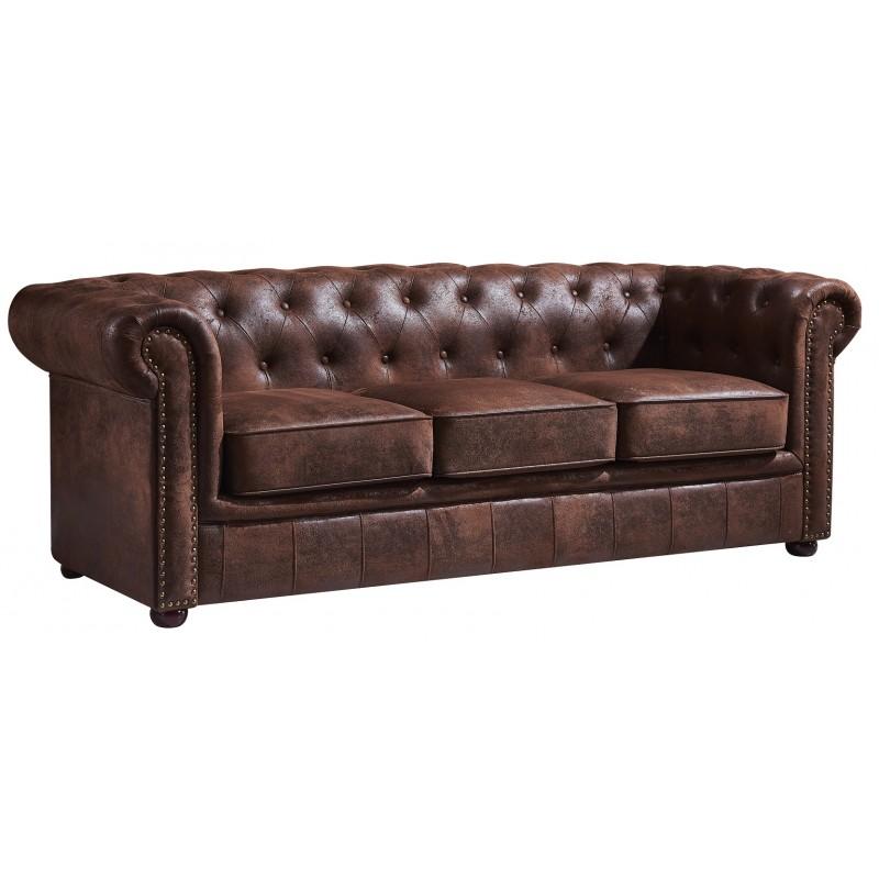 Sofa chester 3 plazas vintage con tachuelas