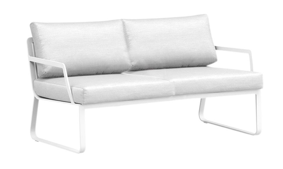 Sofa 2 plazas aluminio blanco Verona con cojines
