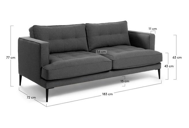 Sofa 3 plazas florence tela gris oscuro