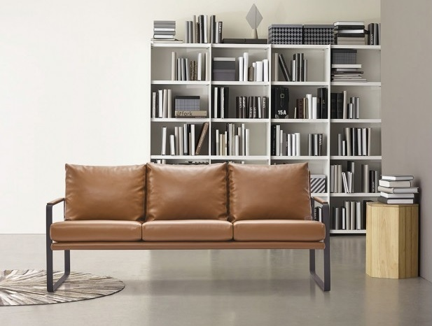 Sofa Bauhaus berlin piel marron acero negro