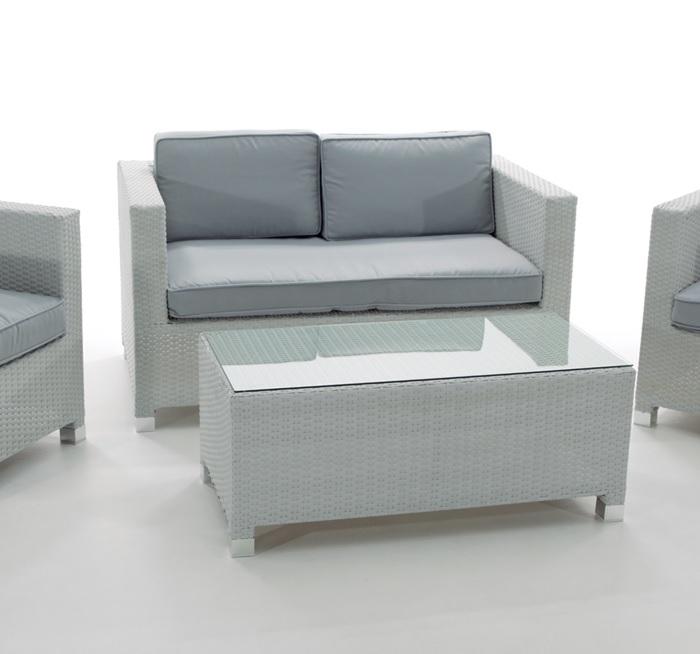 Sofa rattan blanco 2 plazas Artic