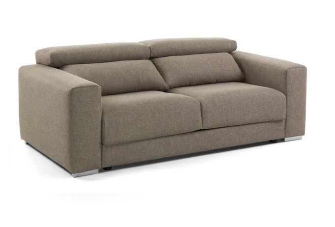 Sofa binari deslizante 3 plazas tela marron