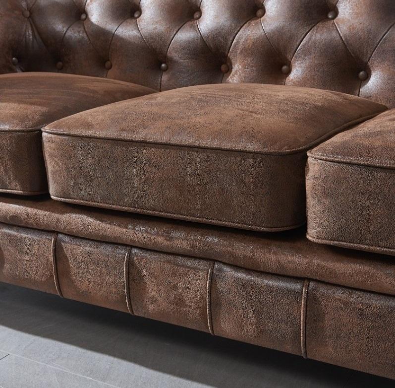 Sofa chester 3 plazas marron envejecido