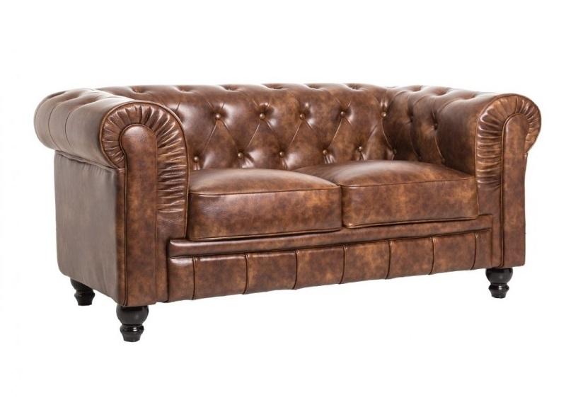 Sofa chester 2 plazas cuero viejo