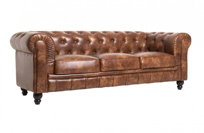 Sofa chester 3 plazas cuero viejo